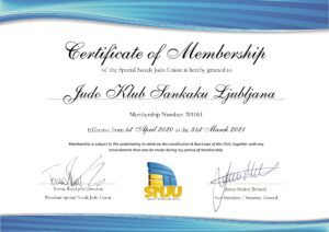 Certifikat Specila Needs Judo Union